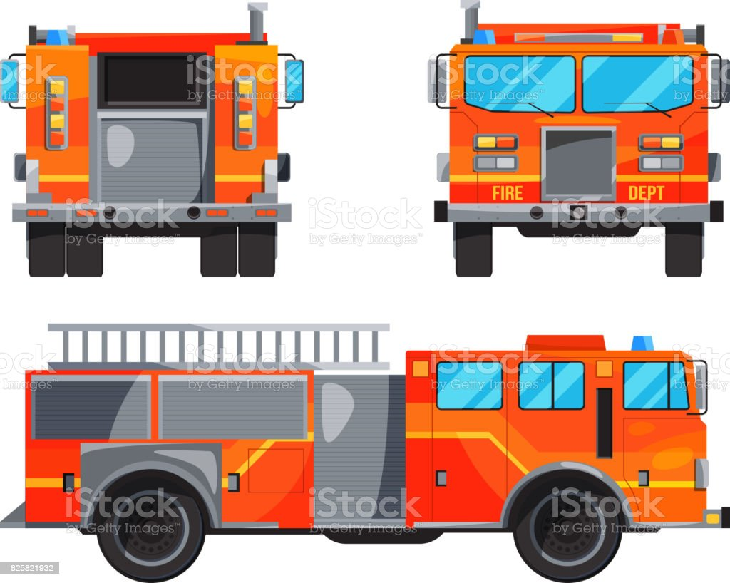 Different sides of fire truck. Specific professional car for fireman vector art illustration