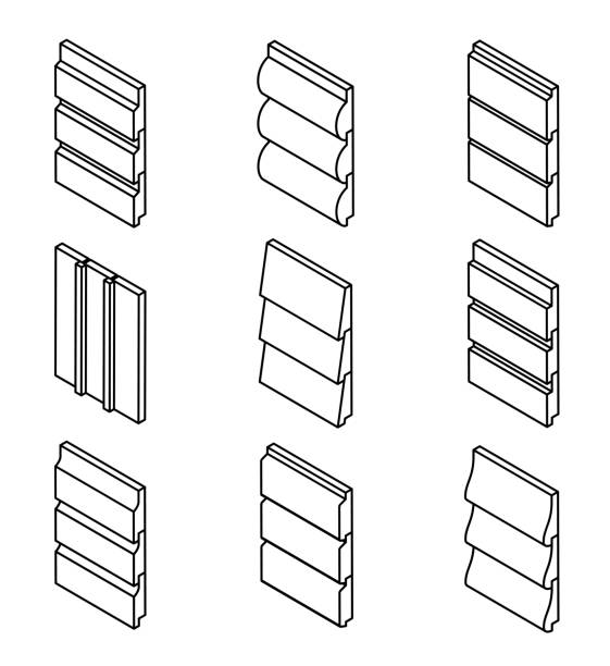 Different Siding Profiles in Isometric View and Outline Style vector art illustration