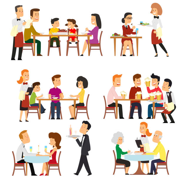 different situations in the restaurant. - family dinner stock illustrations, clip art, cartoons, & icons
