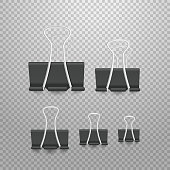 Different size paperclip office elements collection isolated on white
