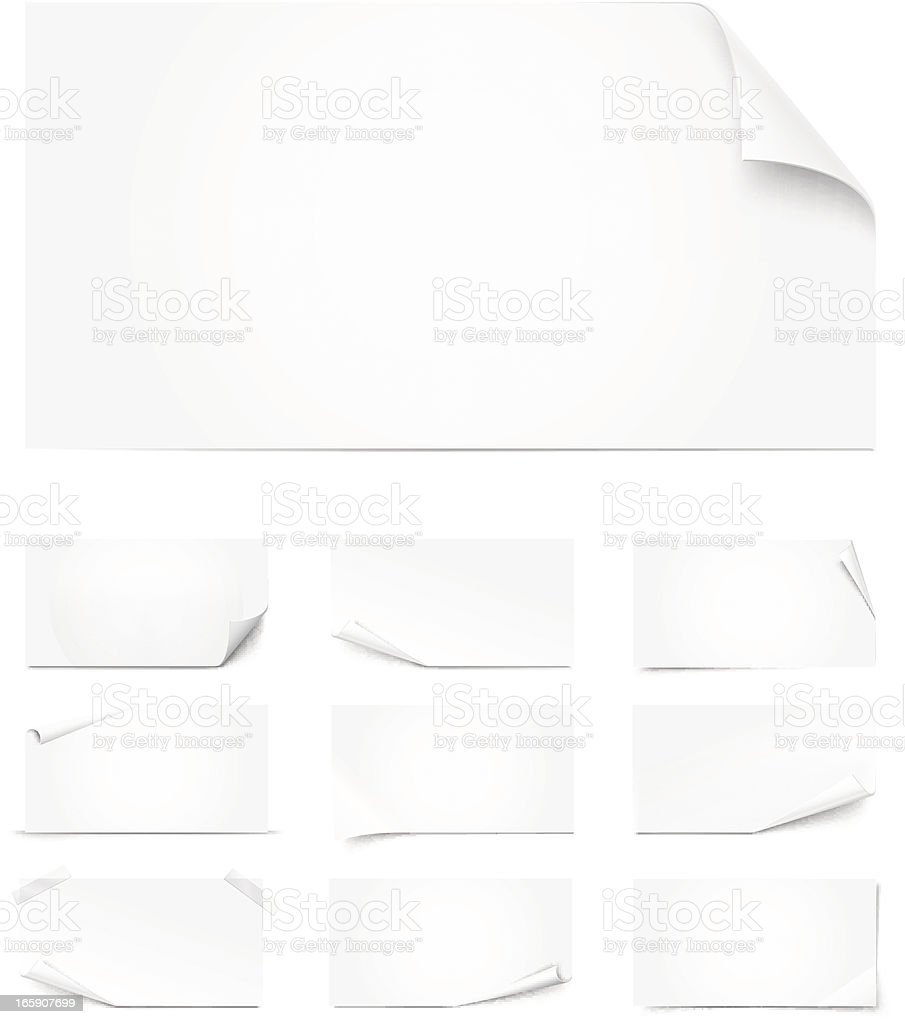 Different sized white pages curled vector art illustration