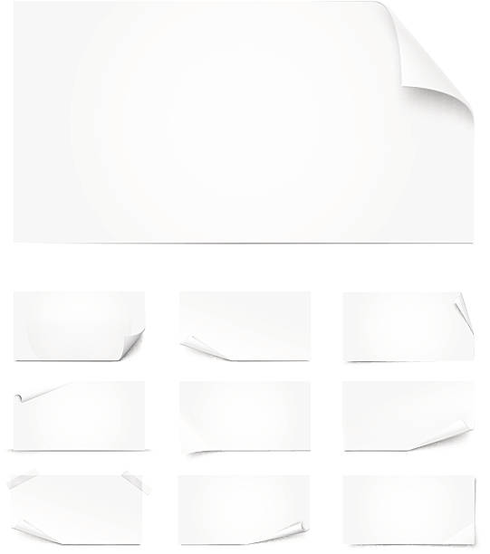 different sized white pages curled - curled up stock illustrations