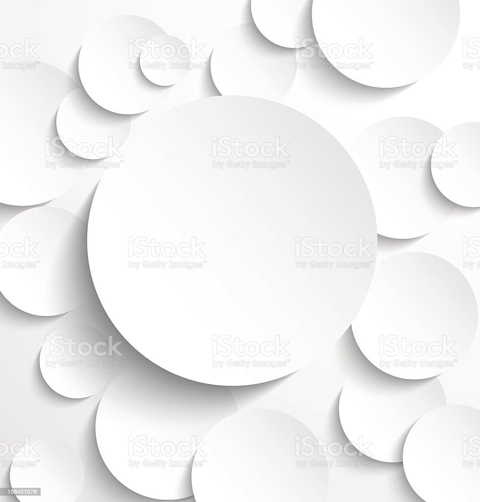 Different sized white paper circles with drop shadows royalty-free stock vector art