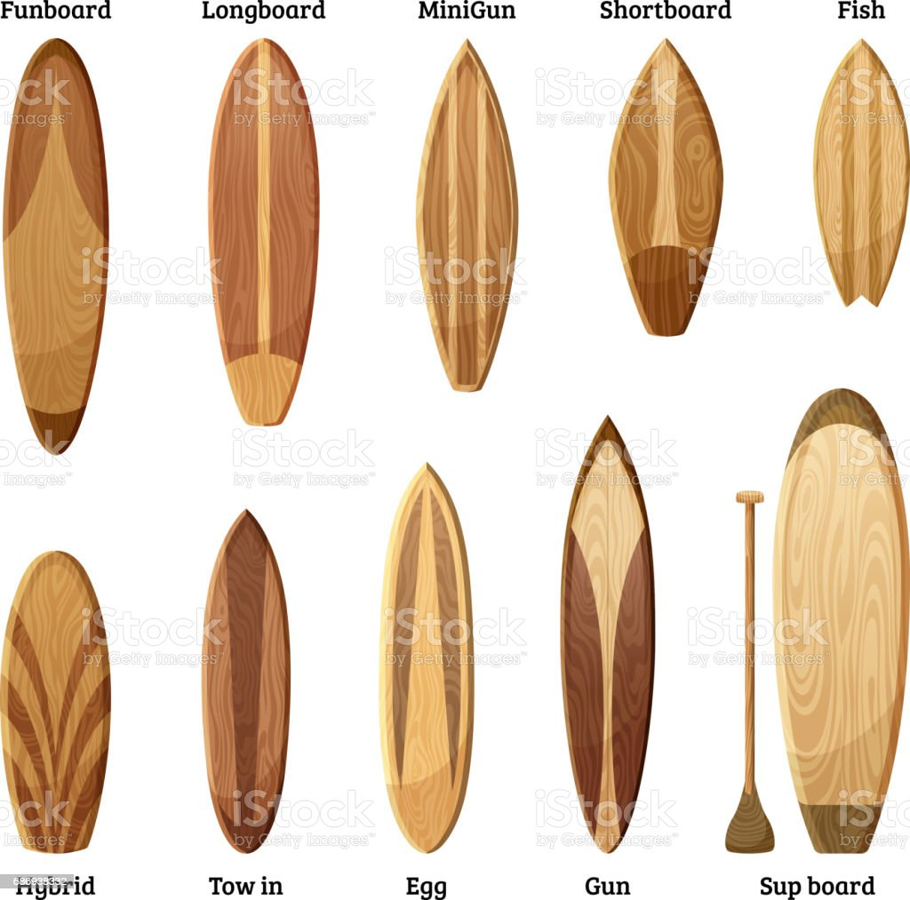 Different sizes and designs of wood surfboards isolate on white background. Vector illustration vector art illustration