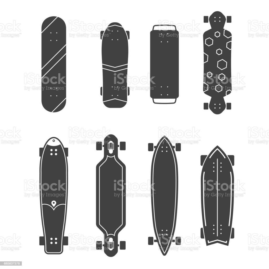 Different Skateboards Set vector art illustration