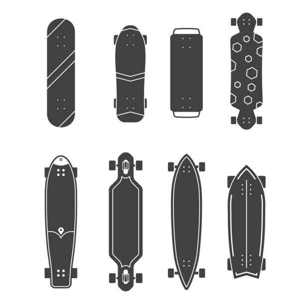 ilustrações, clipart, desenhos animados e ícones de conjunto de skates diferentes - andar de skate