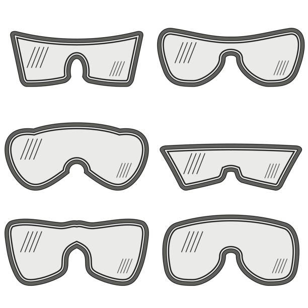 verschiedenen skibrillen - schutzbrille stock-grafiken, -clipart, -cartoons und -symbole