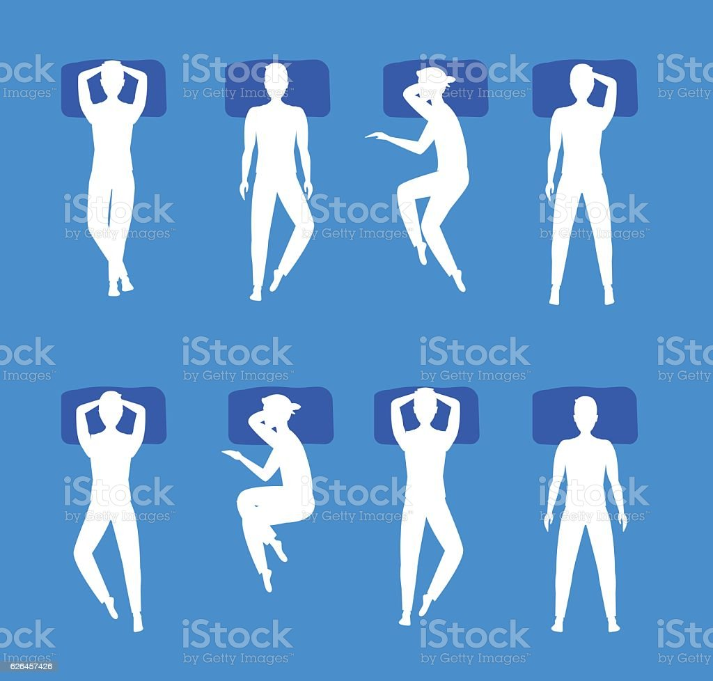 Different Sleeping Poses Set White Silhouette. Vector vector art illustration