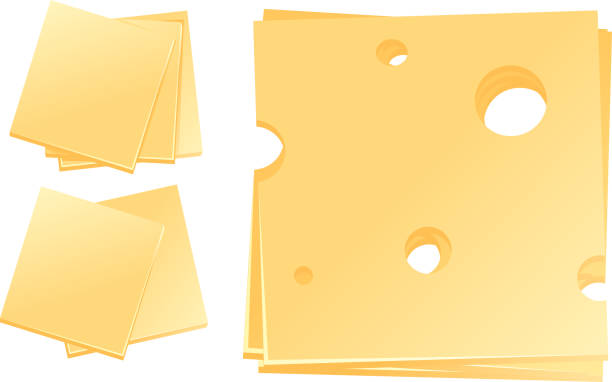 illustrazioni stock, clip art, cartoni animati e icone di tendenza di different slices of cheese - formaggio