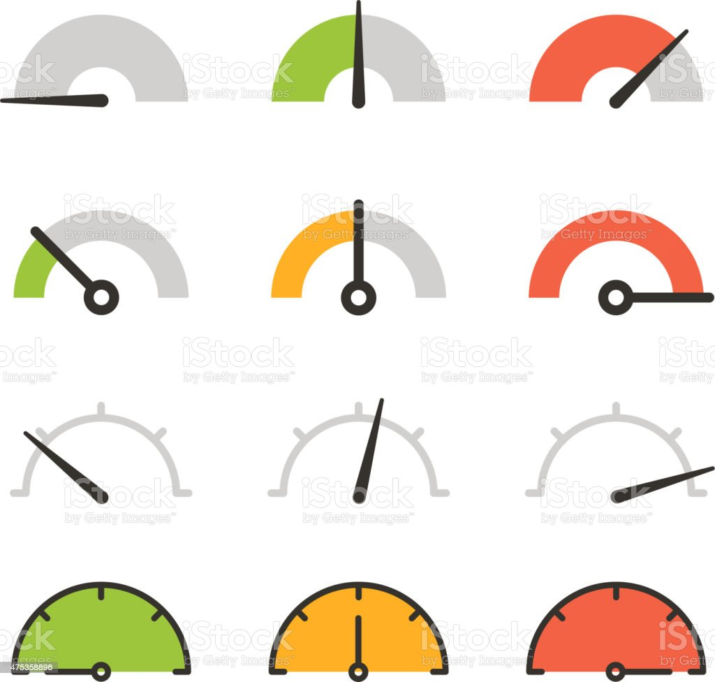 Different slyles of speedometers vector collection. Flat design elements vector art illustration