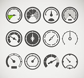 Different slyles of speedometers vector collection