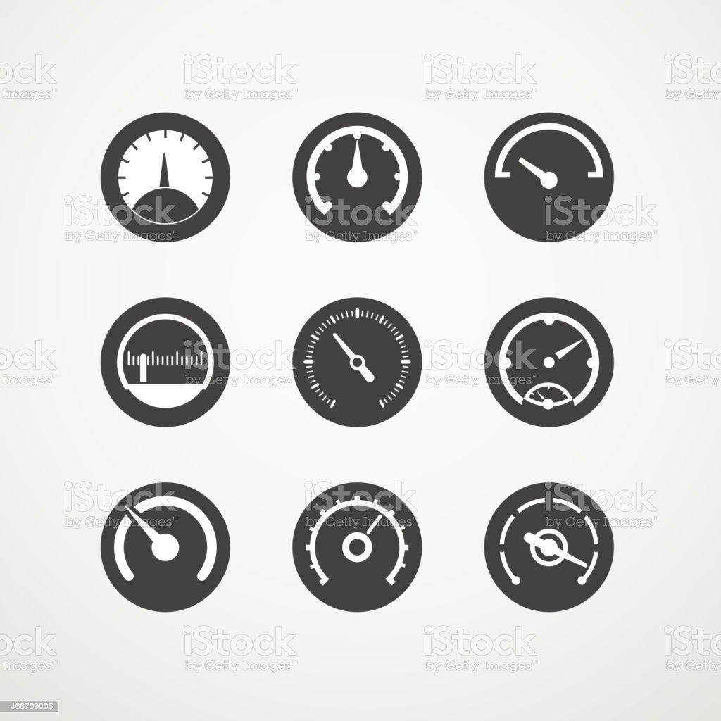 Different slyles of speedometers vector art illustration