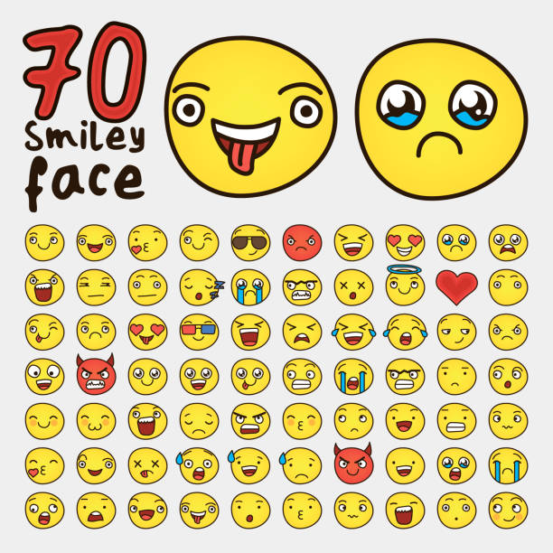 70 different Smile faces vector vector art illustration
