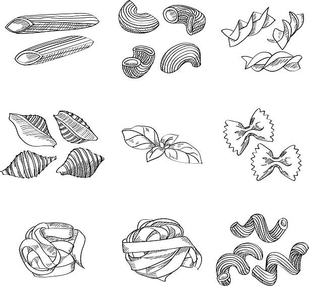 Different sorts of traditional pasta Different sorts of traditional pasta made in sketch style. Great design element for italian restaurants and pasta restaurants. rotelle stock illustrations