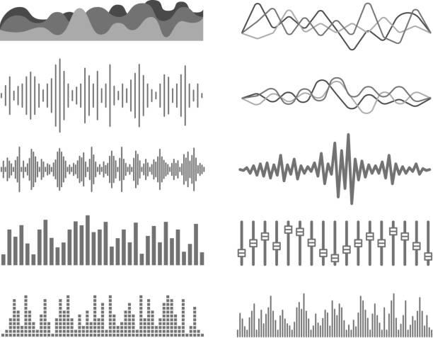 verschiedene schallwellen vektor-set - sound wave grafiken stock-grafiken, -clipart, -cartoons und -symbole
