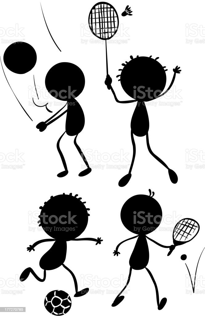 Different sport activities in its silhouette forms royalty-free stock vector art