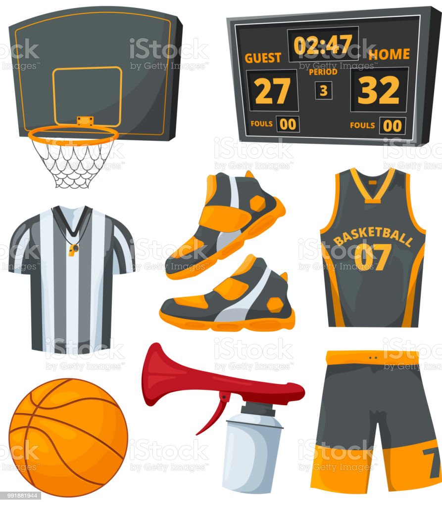 Different sport symbols of basketballs. Vector pictures set vector art illustration