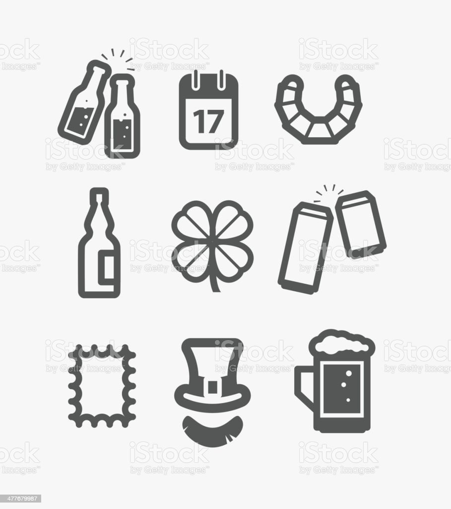 Different st Patricks Day icons set. Design elements royalty-free stock vector art
