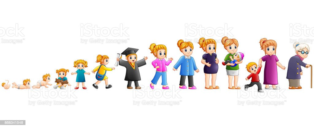 Different stage of life of a female from baby to old vector art illustration