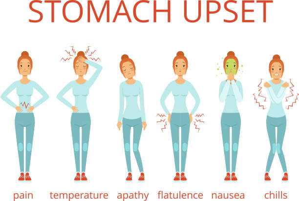 Different stages of food poisoning. Vector infographic vector art illustration