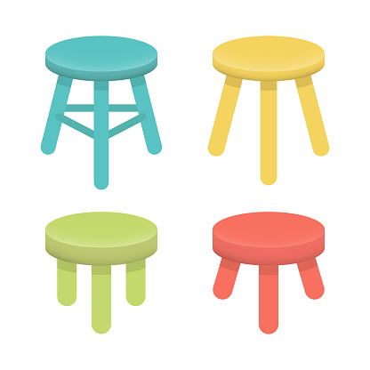 Different stool with three legs vector set. Colorful three legged stool isolated on white, illustration collection. Stool icons or design elements.