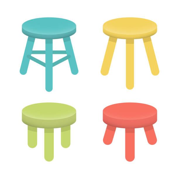 ilustrações, clipart, desenhos animados e ícones de definir diferentes fezes com vetor de três pernas. - banco assento
