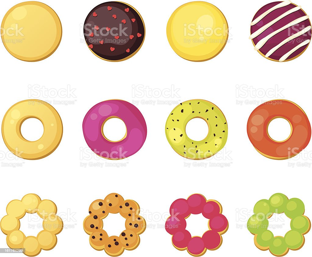 Different style donuts royalty-free stock vector art