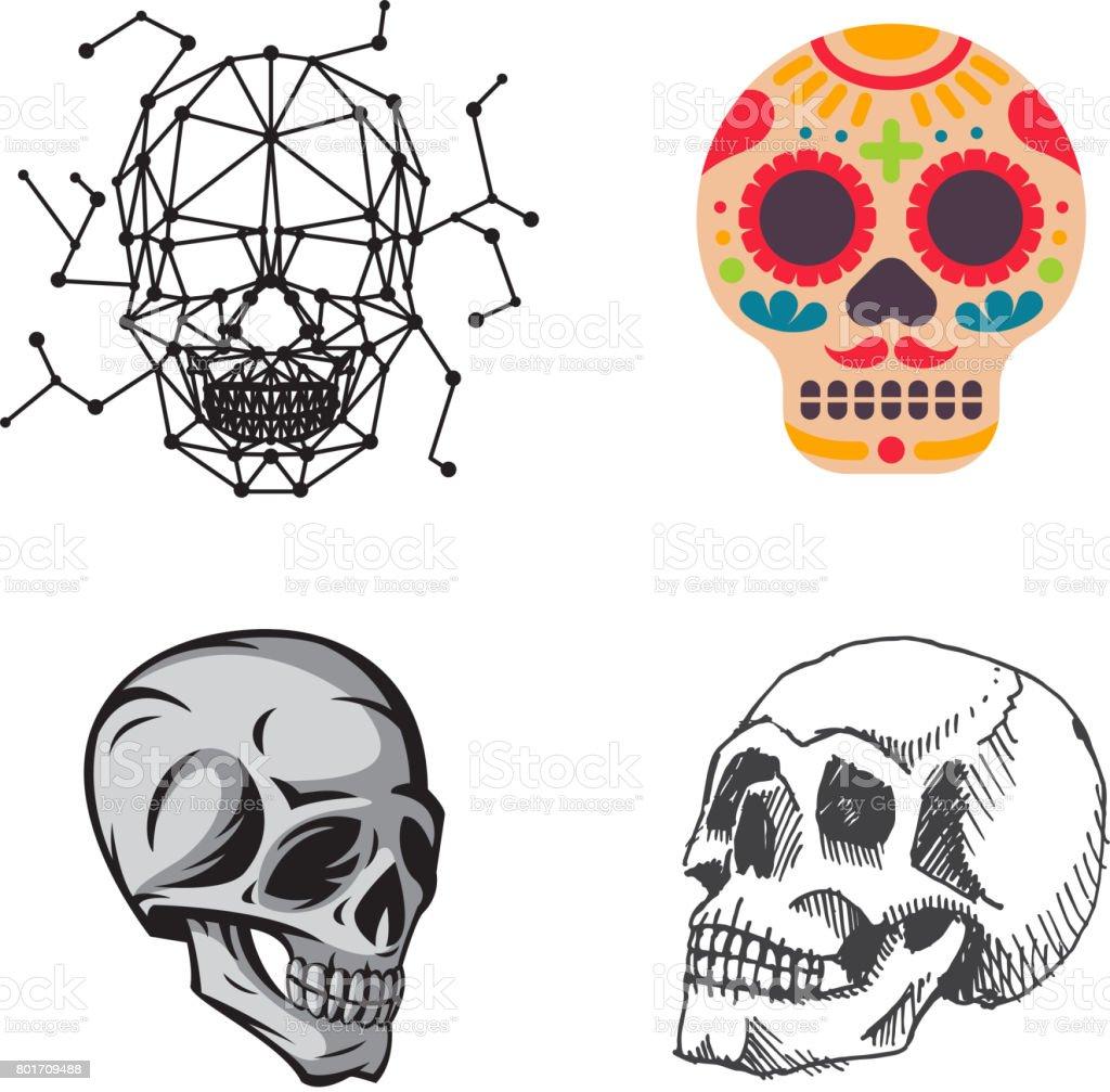 Unterschiedliche Art Schädel Gesichter Vektor Illustration Halloween ...