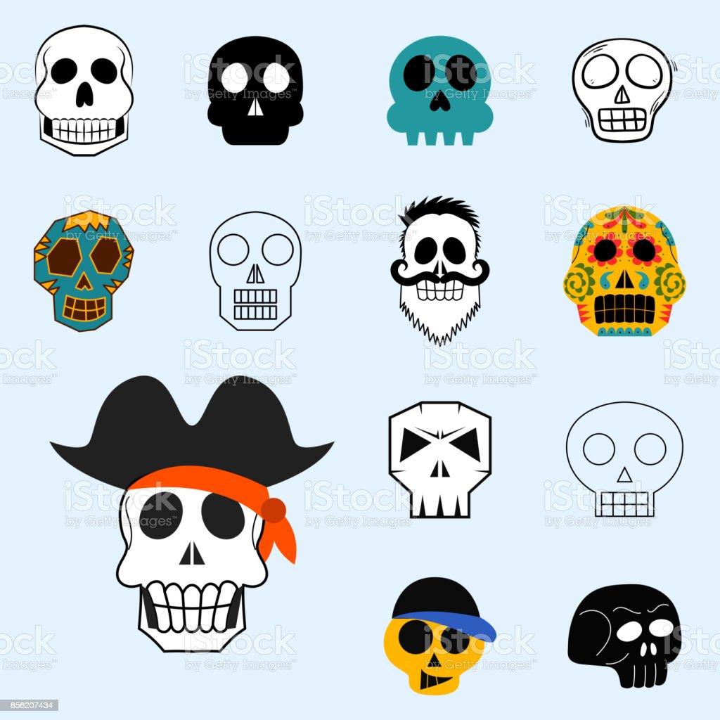 Unterschiedliche Art Schadel Gesichter Vektor Illustration Halloween