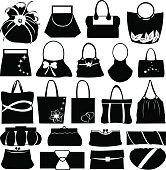 Different styles of handbags and purses