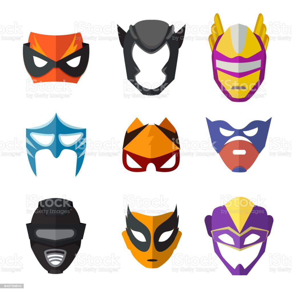 Different superheroes masks for kids. Vector illustrations in flat style vector art illustration