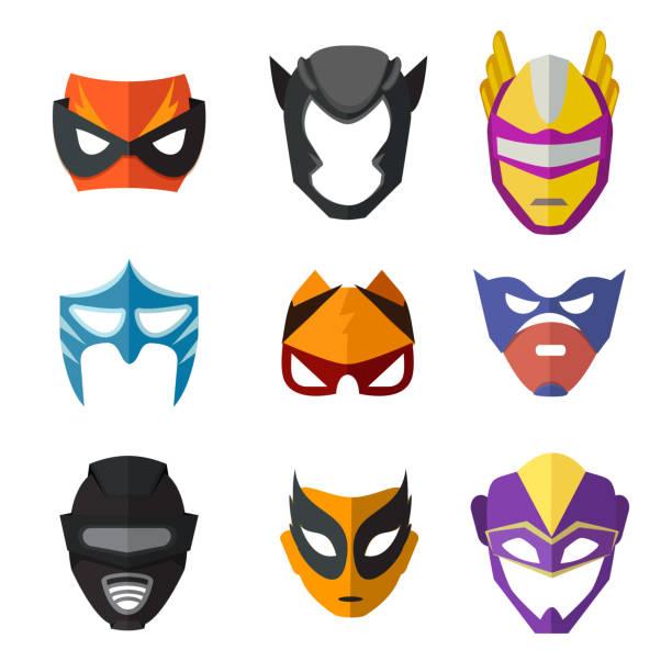 bildbanksillustrationer, clip art samt tecknat material och ikoner med olika superhjältar masker för barn. vektor illustrationer i platt stil - superhjälte isolated