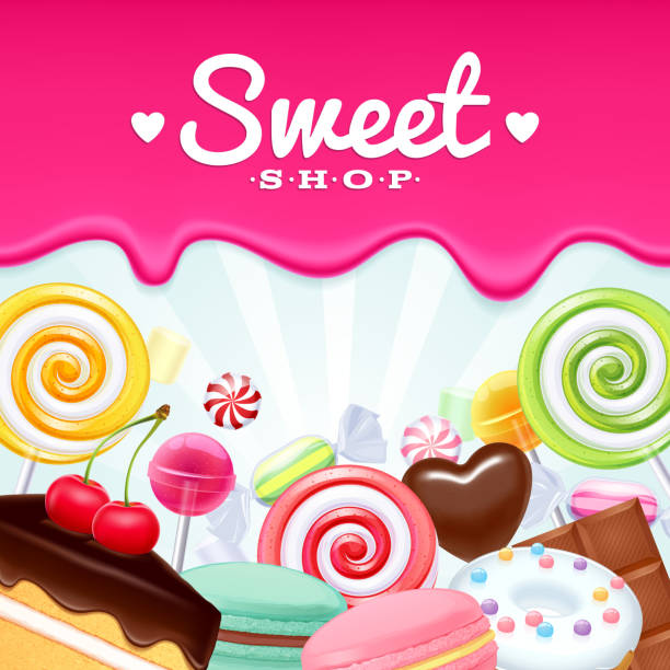 Different sweets colorful background. Different sweets colorful background. Lollipops, cake, macarons, chocolate bar, candies and donut on shine background. candy borders stock illustrations