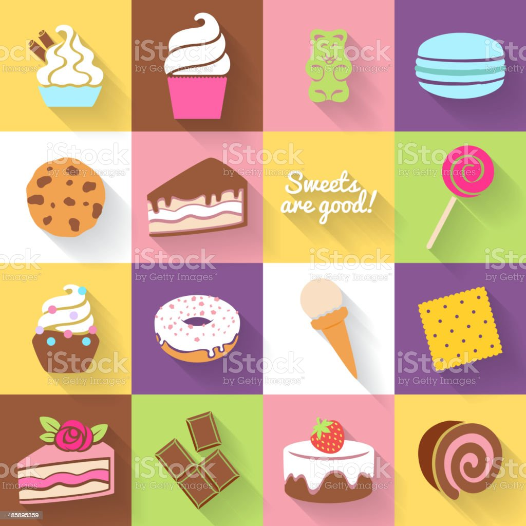 Different sweets icons set in flat style. vector art illustration