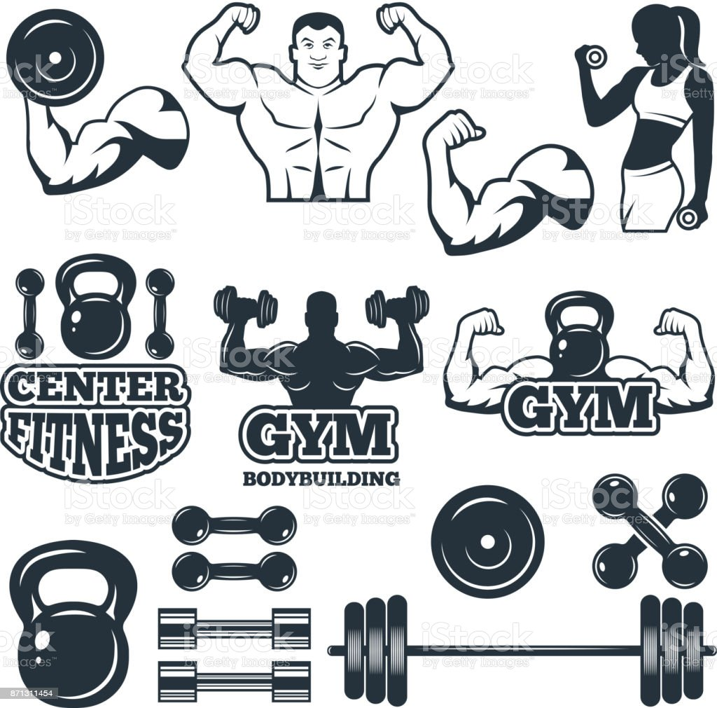 Different Symbols And Badges Set For Fitness Club Vector Pictures