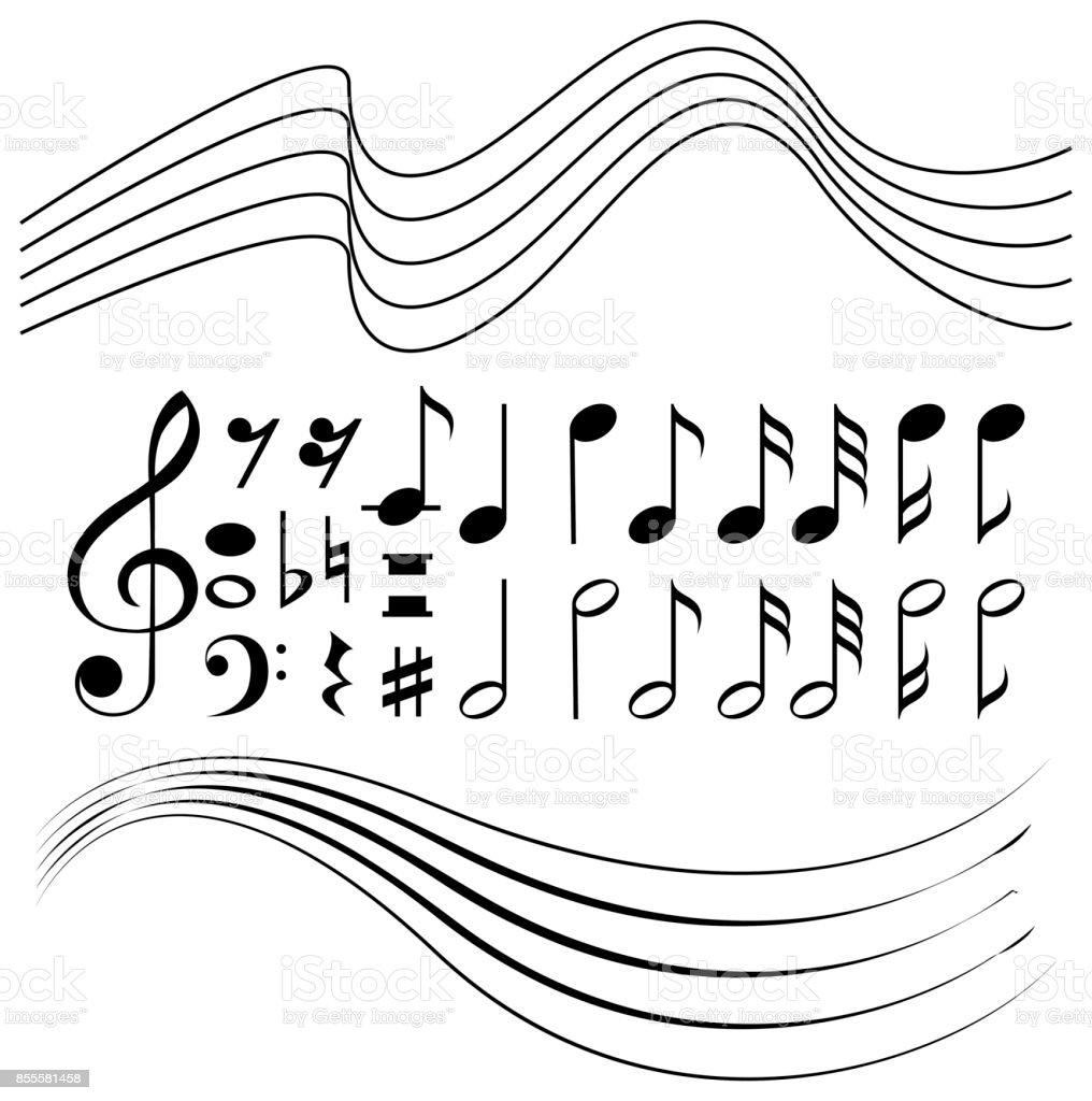 Verschiedene Symbole Von Musiknoten Und Linie Papier Vektor ...
