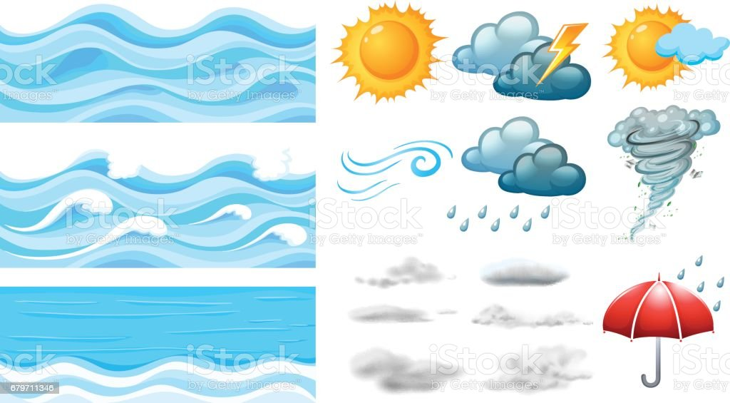 Different symbols of weather vector art illustration