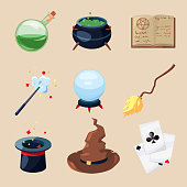 Different symbols of wizards and magicians. Mystery book, magic parchment and wand. Vector icons set in cartoon style. Magic book and paranormal magical wizard illustration