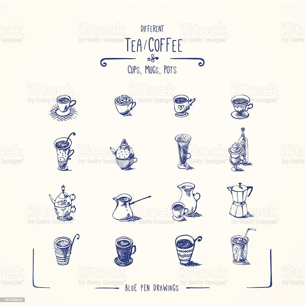 Different tea & coffee cups, mugs, pots. vector art illustration