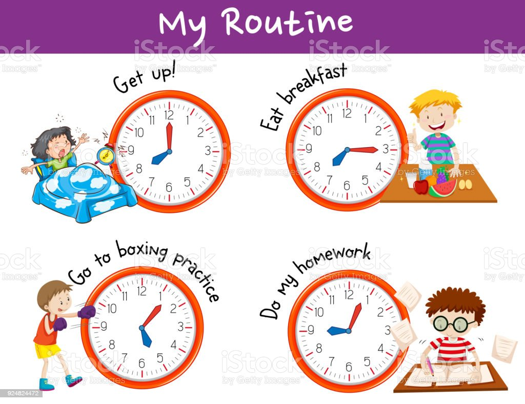 Different times and activities for kids vector art illustration