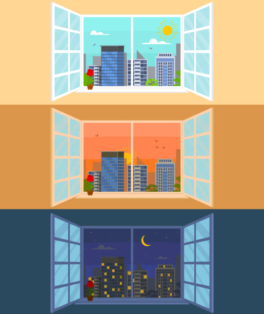 different times of day set concept card poster. vector - dusk stock illustrations