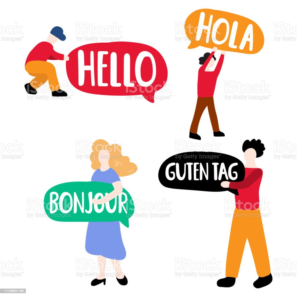 Different tiny people with speech bubbles: hola, guten tag, bonjour, hello. Vector business illustration on white background. vector art illustration