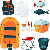 Different tools for fishing. Vector icons set in cartoon style. Fishing equipment and tools collection, hook and rod illustration