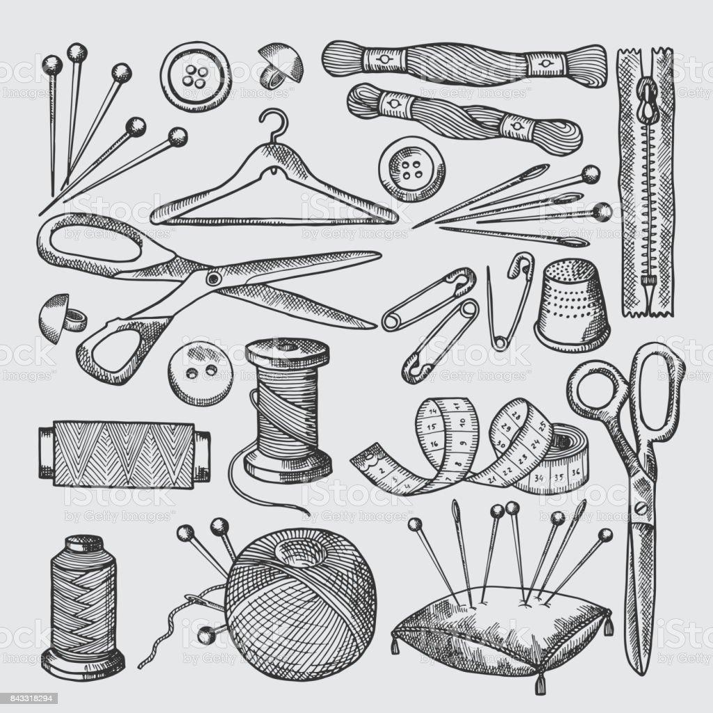 Différents outils pour atelier de couture. Vecteur d'images dessinées à la main de style - Illustration vectorielle