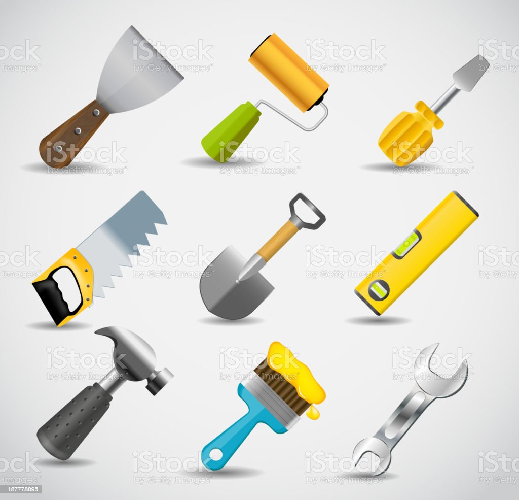 Different tools icon vector illustration set royalty-free stock vector art