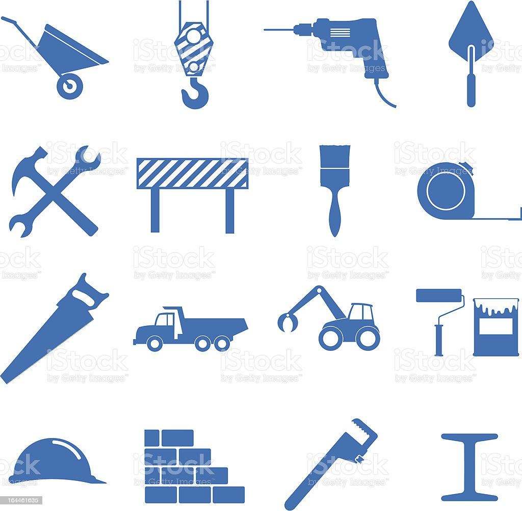 Different tools that would be used in construction royalty-free stock vector art