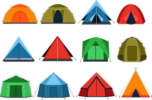 verschiedenen touristen-zelte für camping. vektor-bilder im flachen stil - dachzelt stock-grafiken, -clipart, -cartoons und -symbole