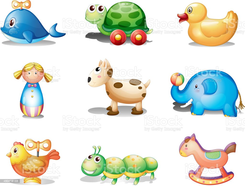 Different toys for kids royalty-free stock vector art