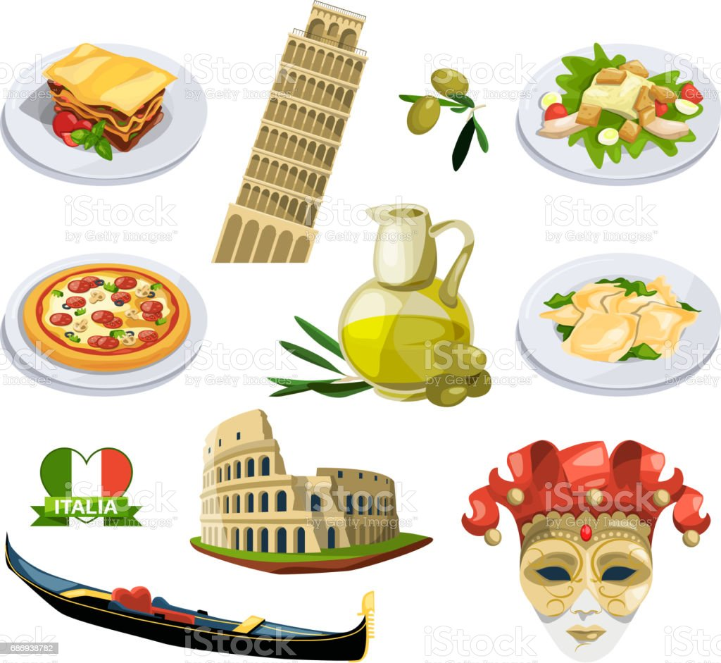 Different Traditional Elements And Symbols Of Italy Venice Travel