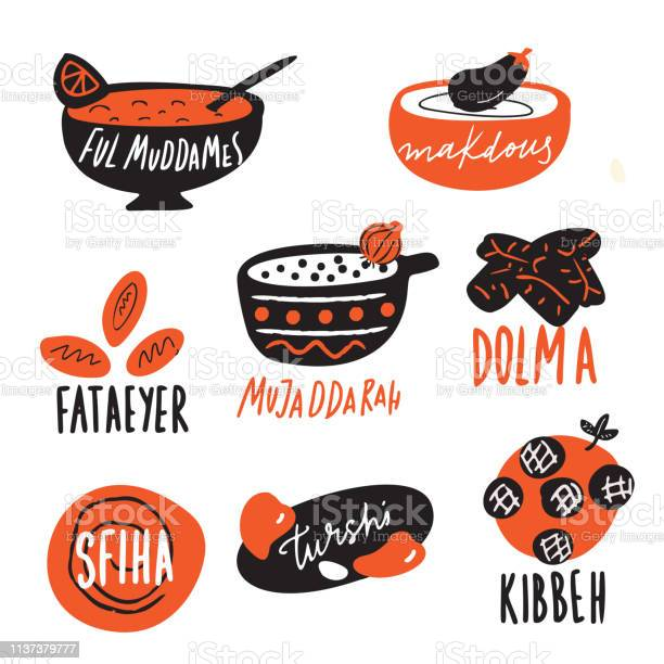 Different traditional middle eastern food elements funny hand drawn vector id1137379777?b=1&k=6&m=1137379777&s=612x612&h=uuafjurhzlksksewp9nci9ccn2laaad4782fm8g5uhq=
